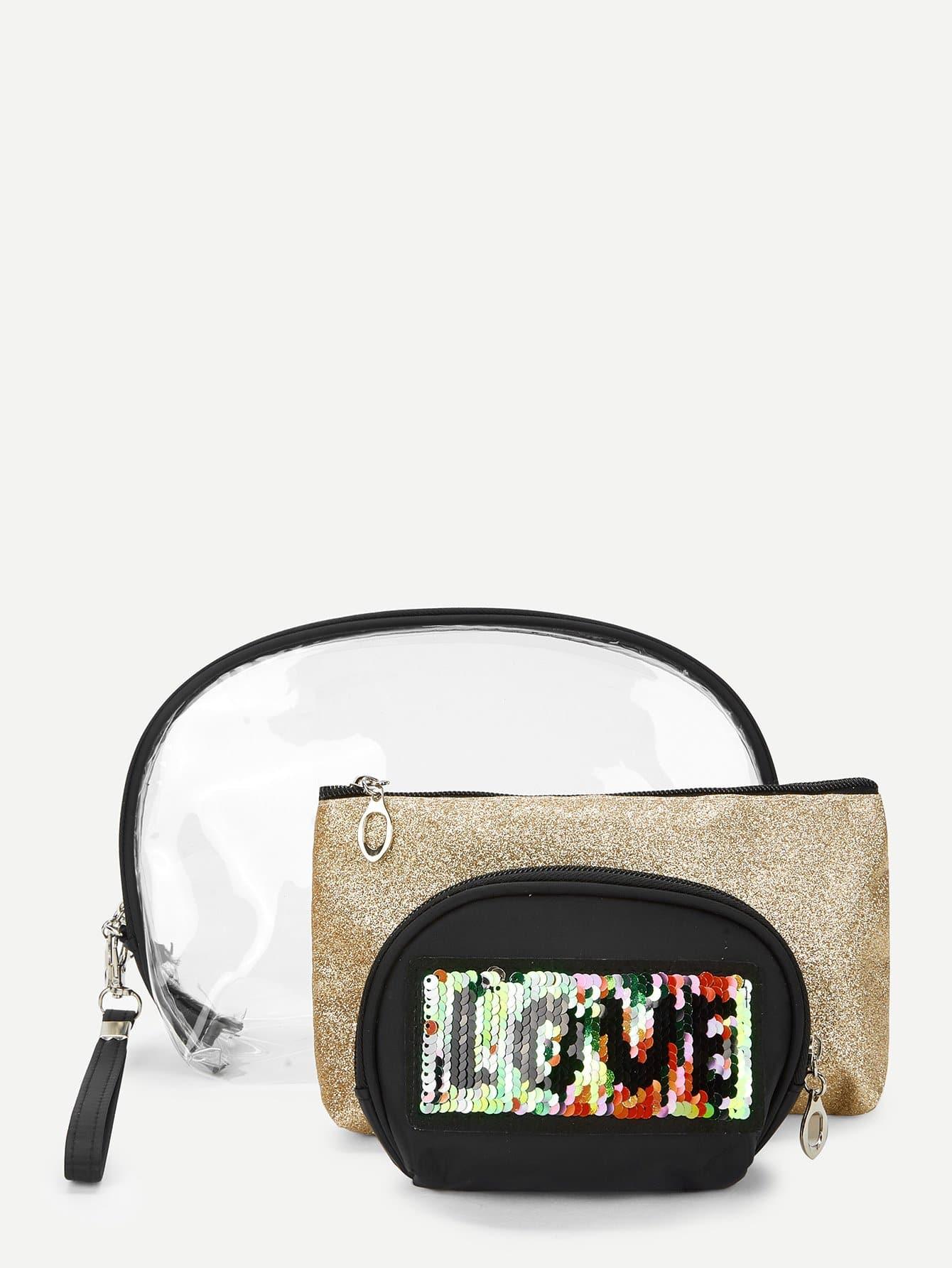 Sequin Decorated Makeup Bag 3pcs