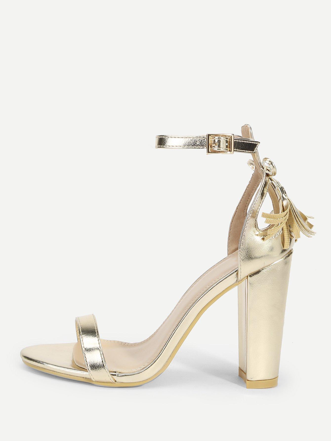 Купить Туфли на высоких кусковых каблуках с бахромами, null, SheIn