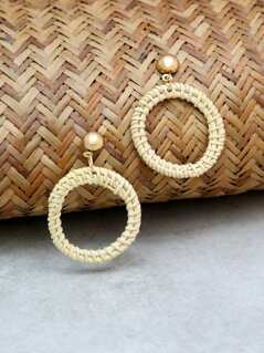 Straw Hoop Earrings