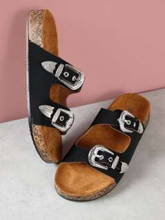Faux Suede Double Buckle Sandals