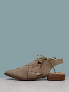 Strappy Distressed Nubuck Faux Suede Loafers