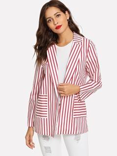Striped Print Pocket Front Blazer