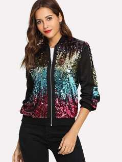 Zip Up Contrast Sequin Jacket