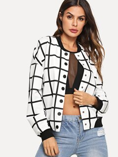 Button Up Grid Print Jacket