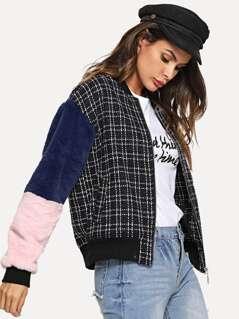 Faux Fur Sleeve Zip Up Jacket