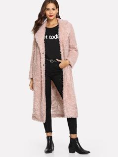 Single Breasted Teddy Longline Coat