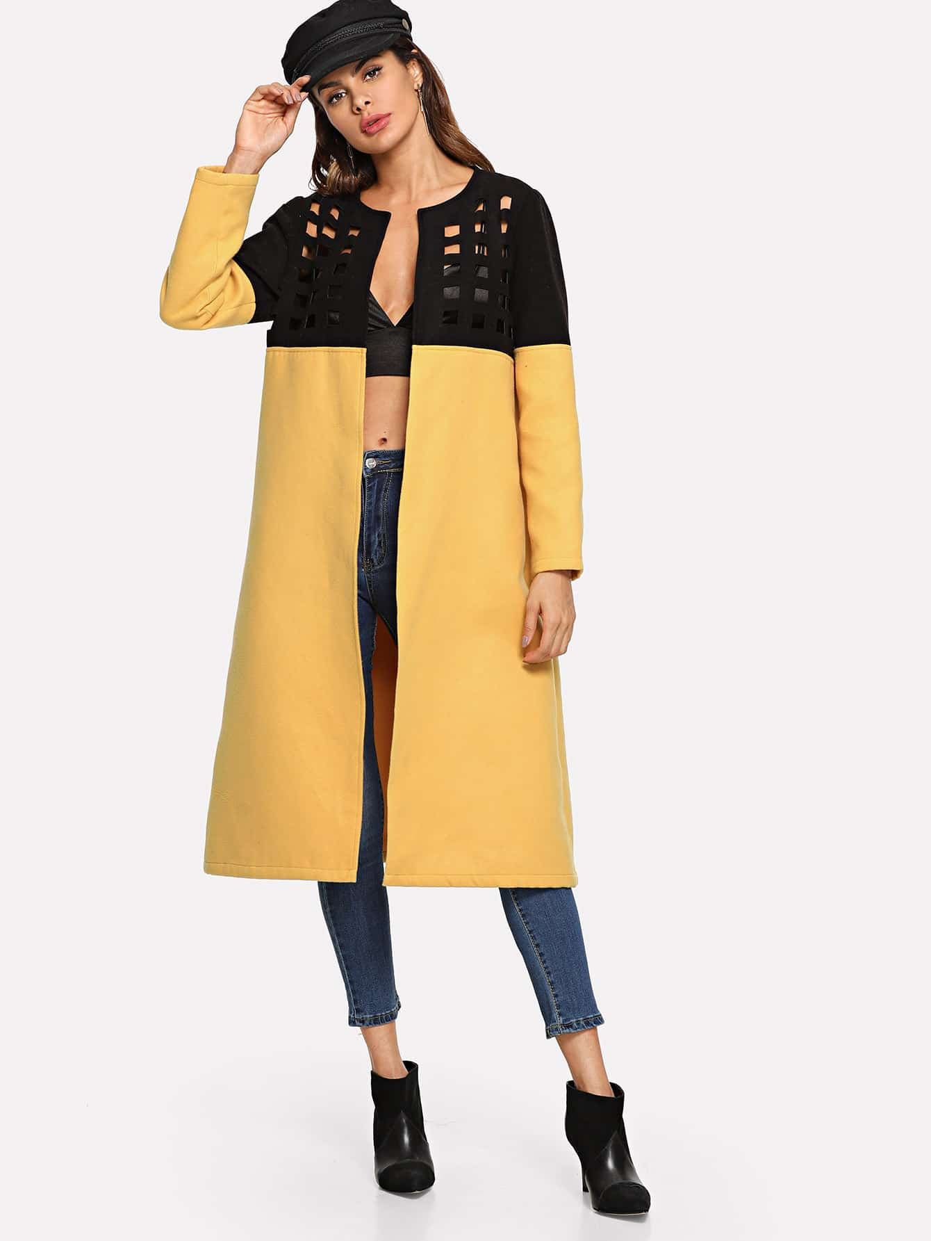 Купить Открытое переднее вырезное ярусовое пальто, Andy, SheIn