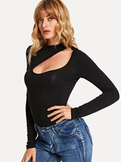 Cut Front Textured Fitted Top
