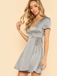 Metallic Self Tie Wrap Satin Dress