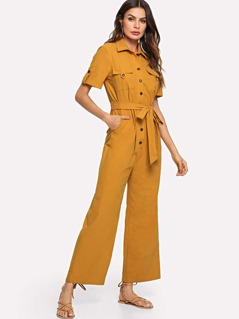 Button Half Placket Self Belted Palazzo Jumpsuit