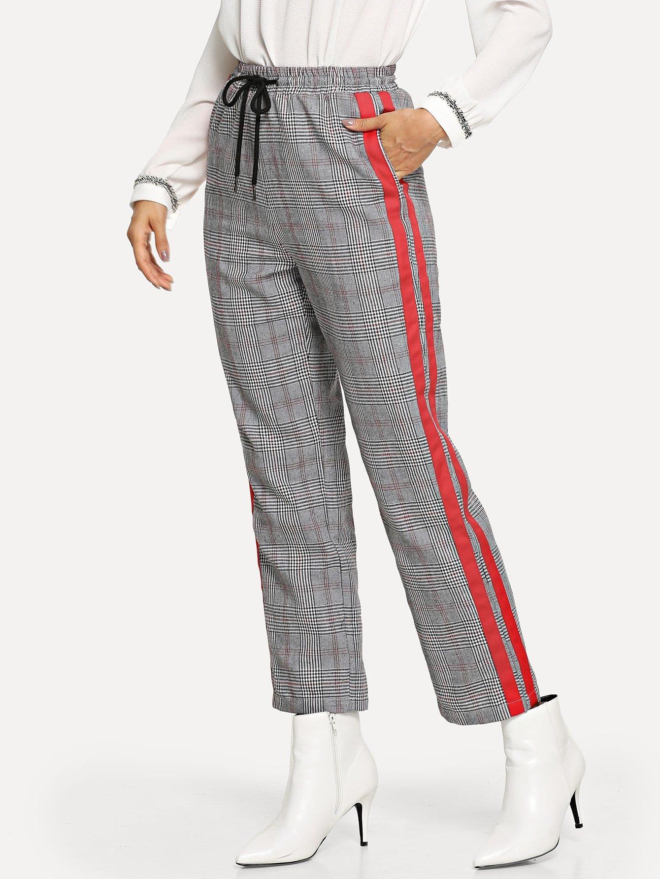 Купить Контрастные клетчатые брюки с веревкой пояса, Andy, SheIn