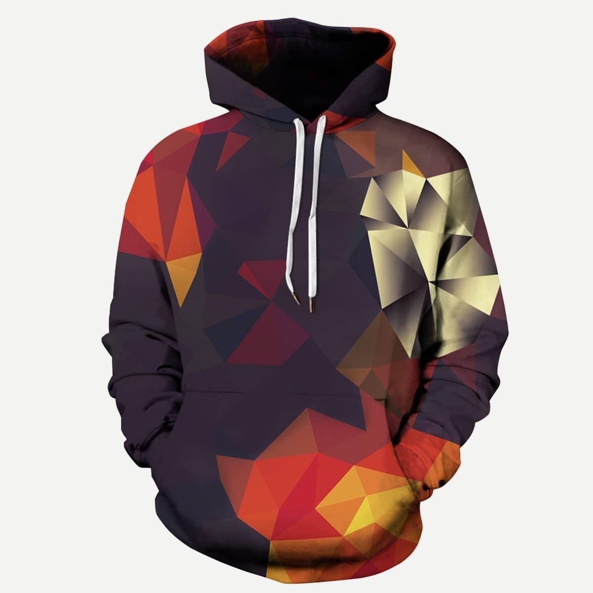 Veel kleurig Casual Koord Geometrisch Sweatshirts voor heren