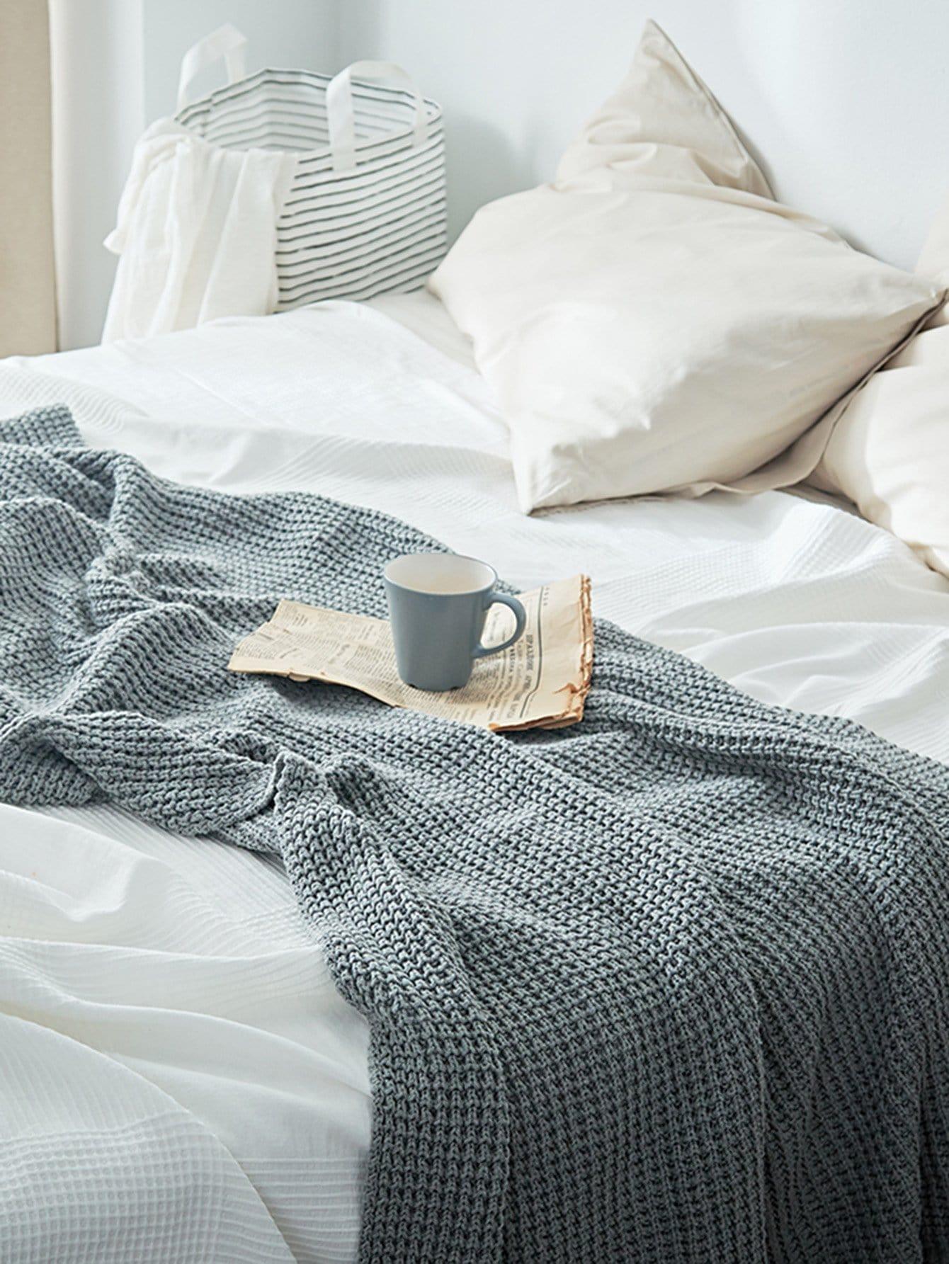 Купить Одеяло/Плед Серые Постельное белье, null, SheIn