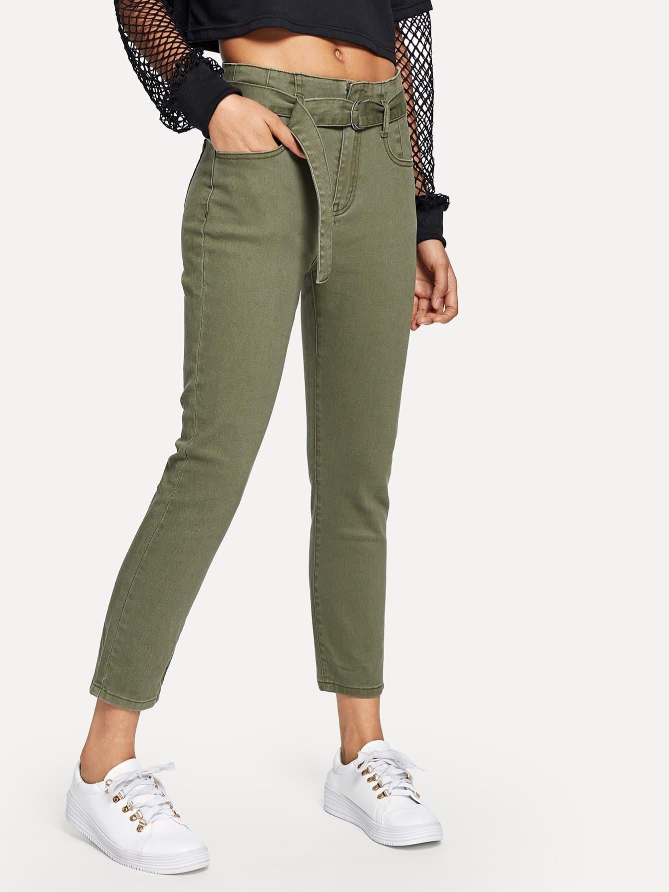 Купить Обтягивающие джинсы с поясом, Ana, SheIn