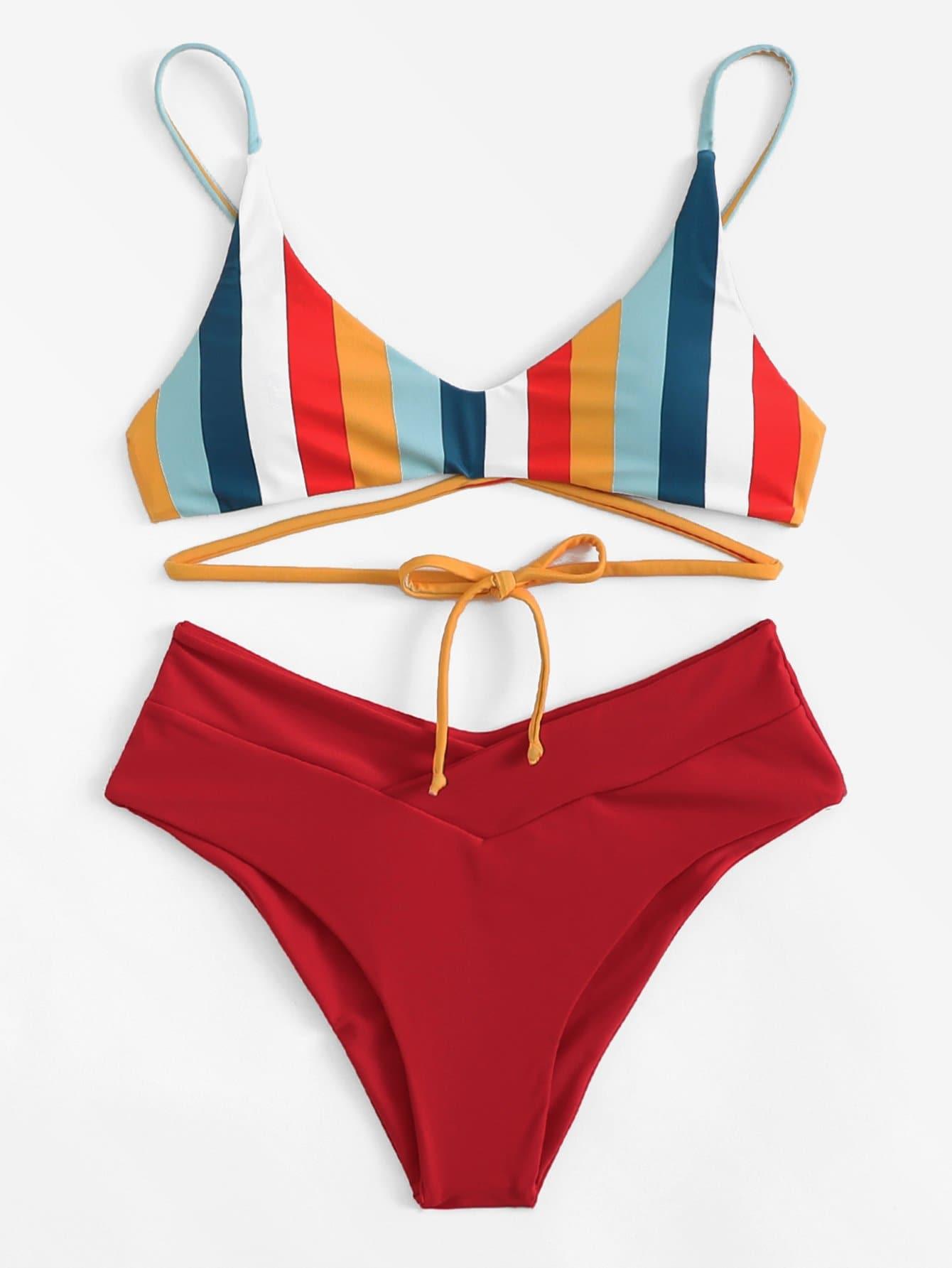 Mix And Match Gestreiftes Bikiniset