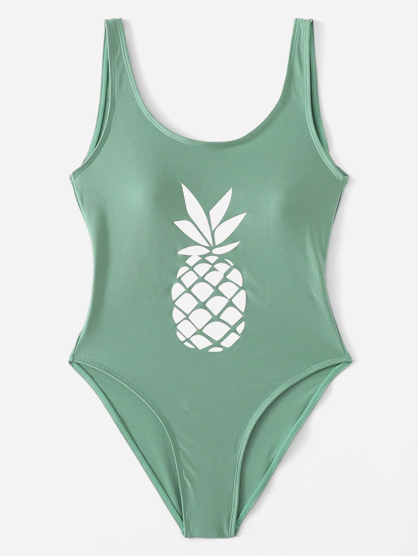 Low Back Ananas Print Badeanzug