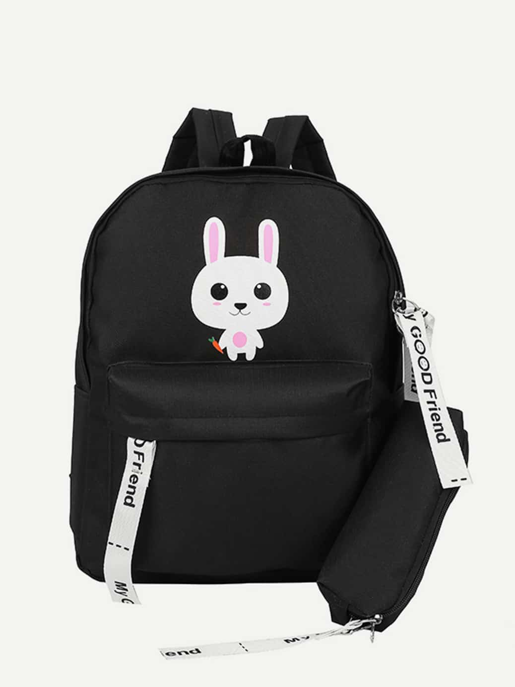 Cartoon Print Backpack With Pencil Case