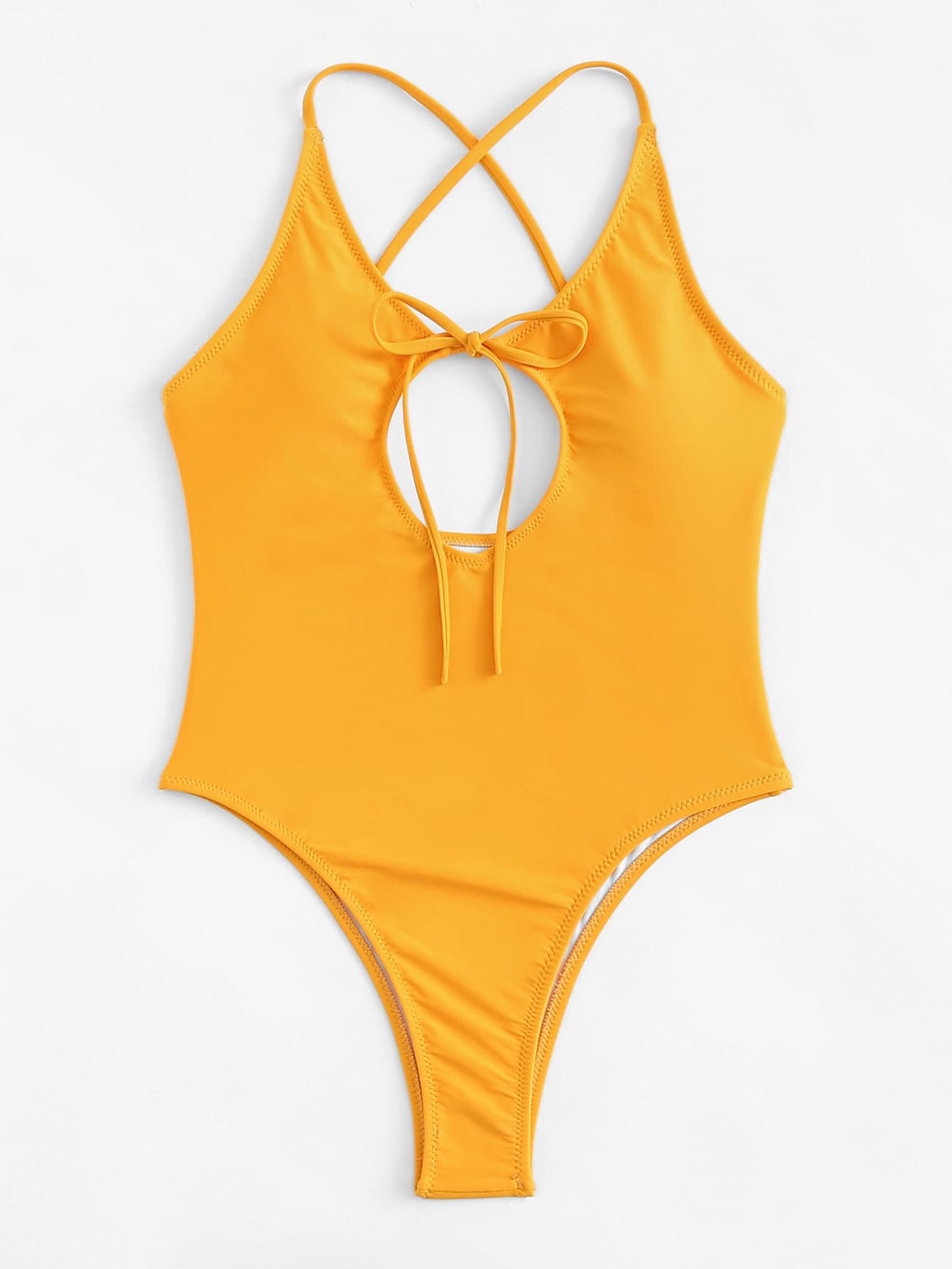 Купить Cut-Out Criss Cross Swimsuit, null, SheIn