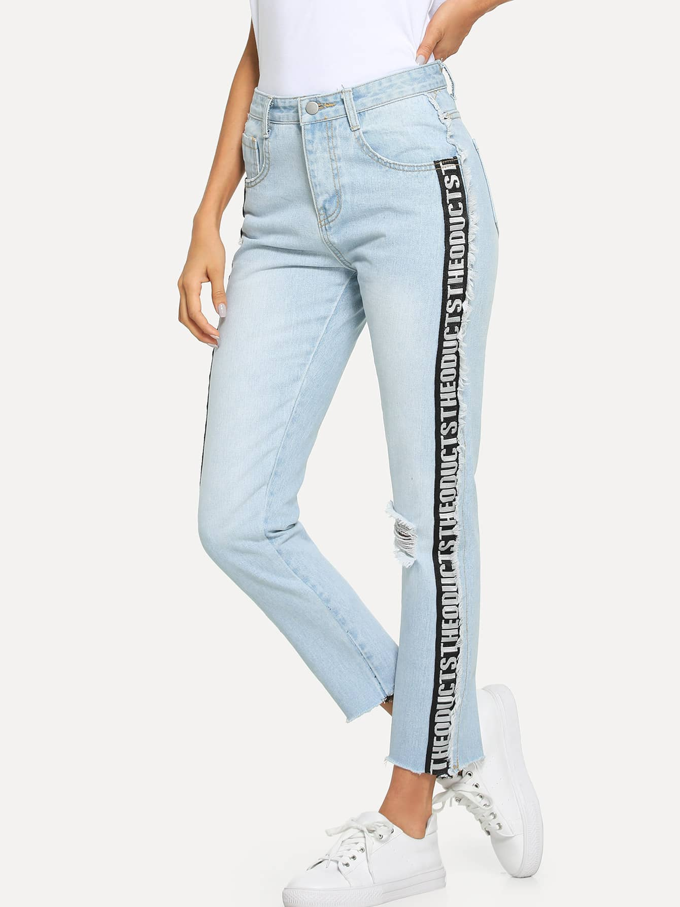 Letter Tape Side Raw Hem Jeans men letter embroidery side jeans
