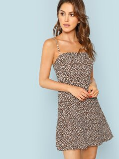 Leopard Print Fit and Flare Cami Dress