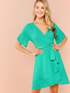 Flounce Sleeve Surplice Wrap Dress