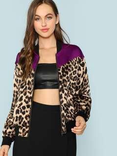 Contrast Yoke Zip Up Leopard Jacket