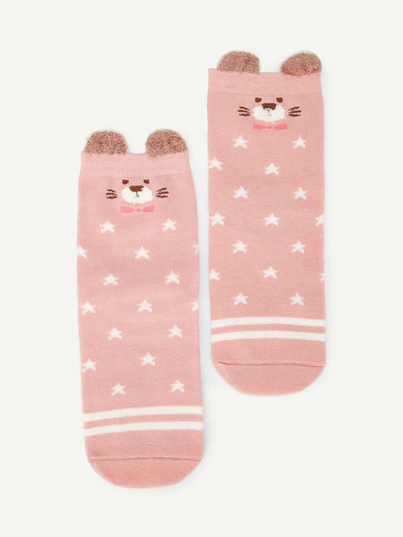 Купить Романтичный стиль Мультяшный принт Розовый Детские носки и колготки, null, SheIn