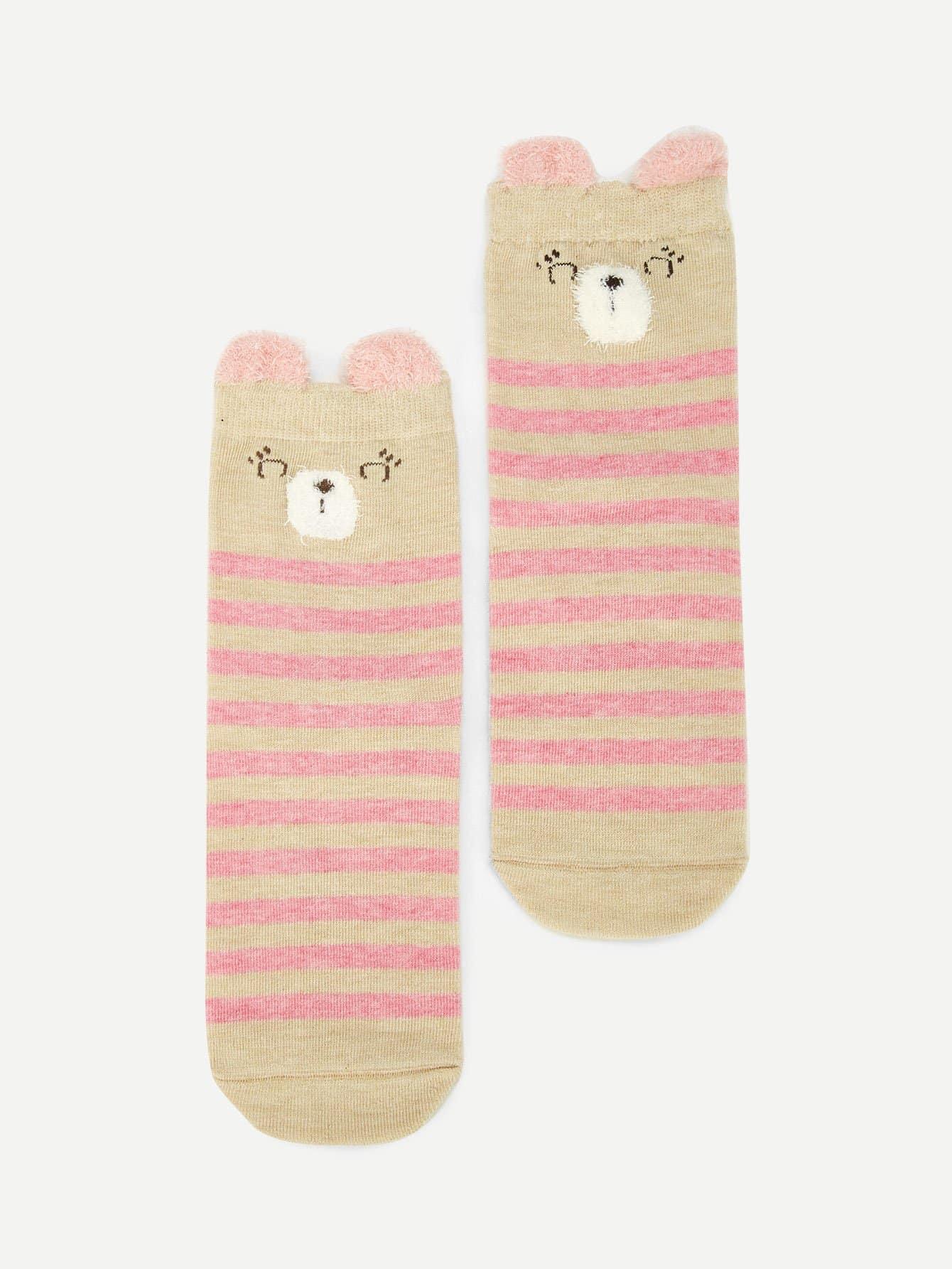 Купить Романтичный стиль Полосатый Розовый Детские носки и колготки, null, SheIn