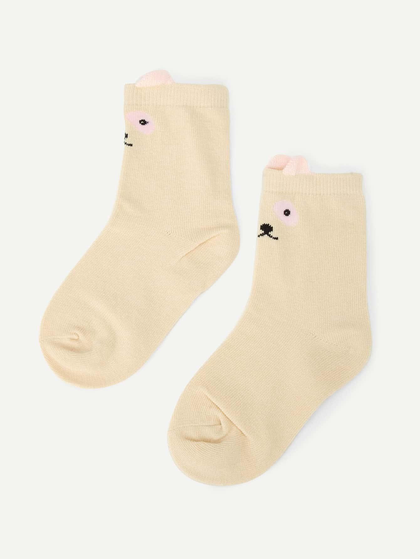 Купить Романтичный стиль Мультяшный принт Абрикосовый Детские носки и колготки, null, SheIn