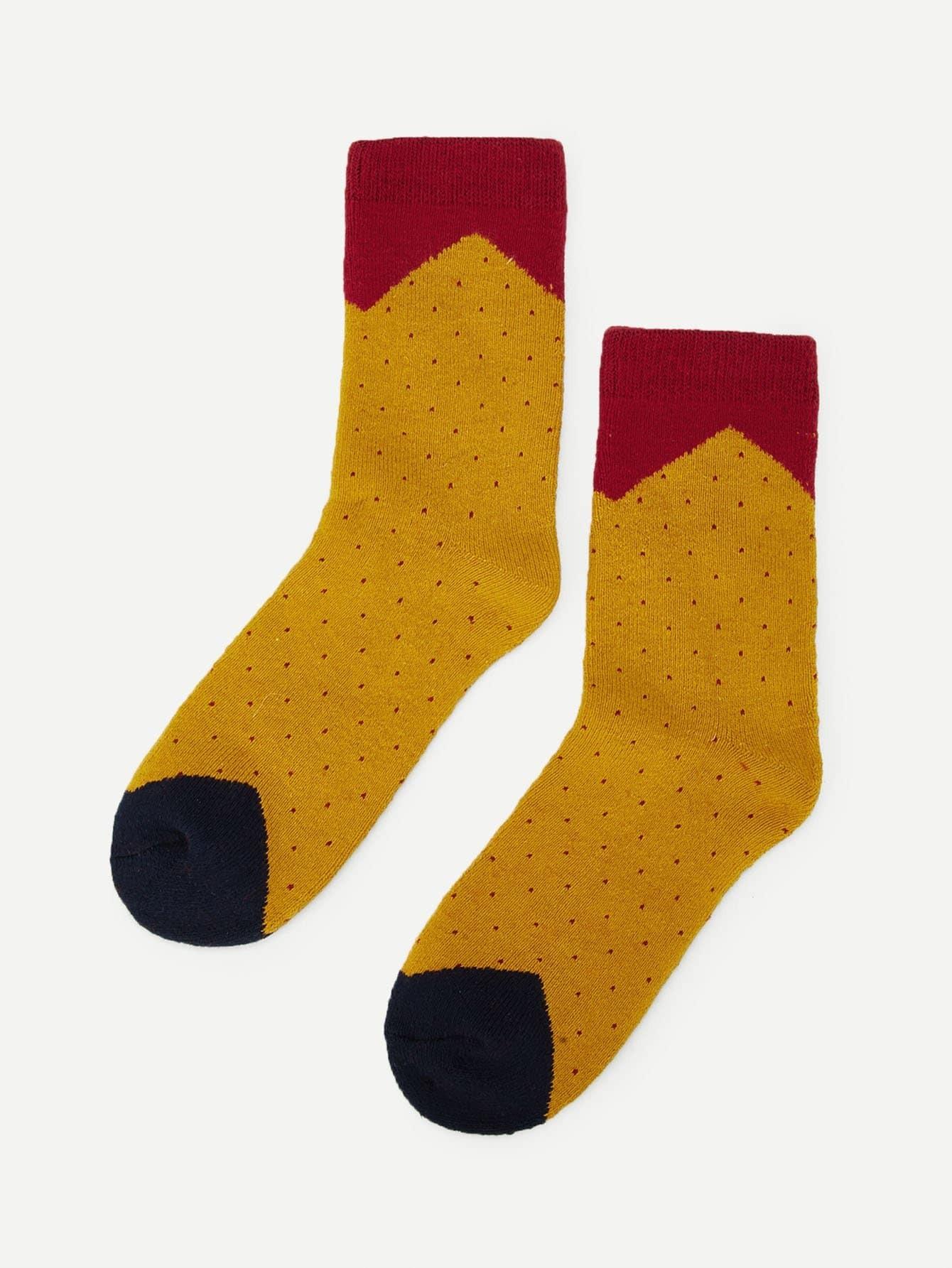 Купить Стиль кэжуал В горошёк Зеленый Детские носки и колготки, null, SheIn