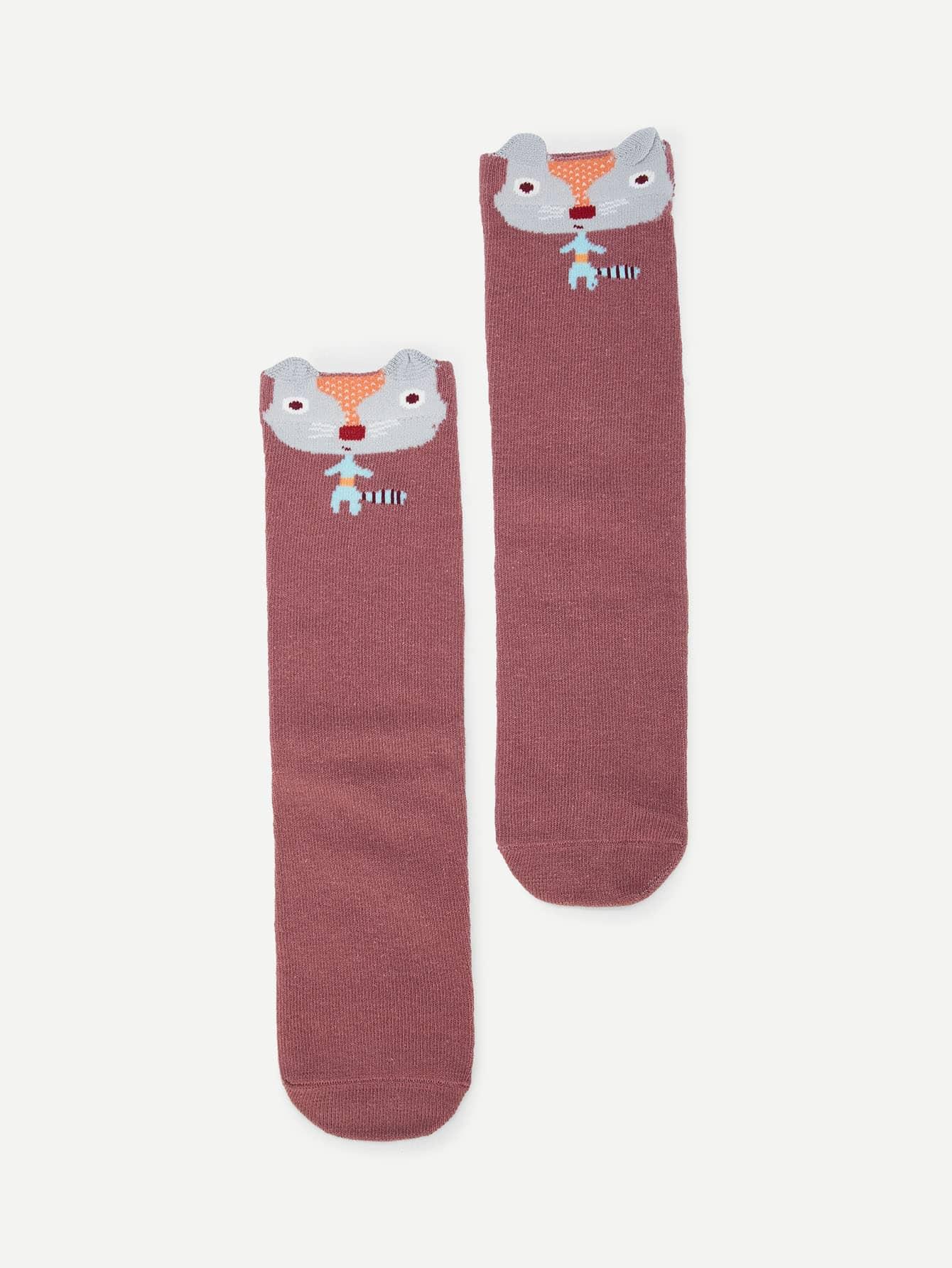Купить Романтичный стиль Мультяшный принт Бургундия Детские носки и колготки, null, SheIn