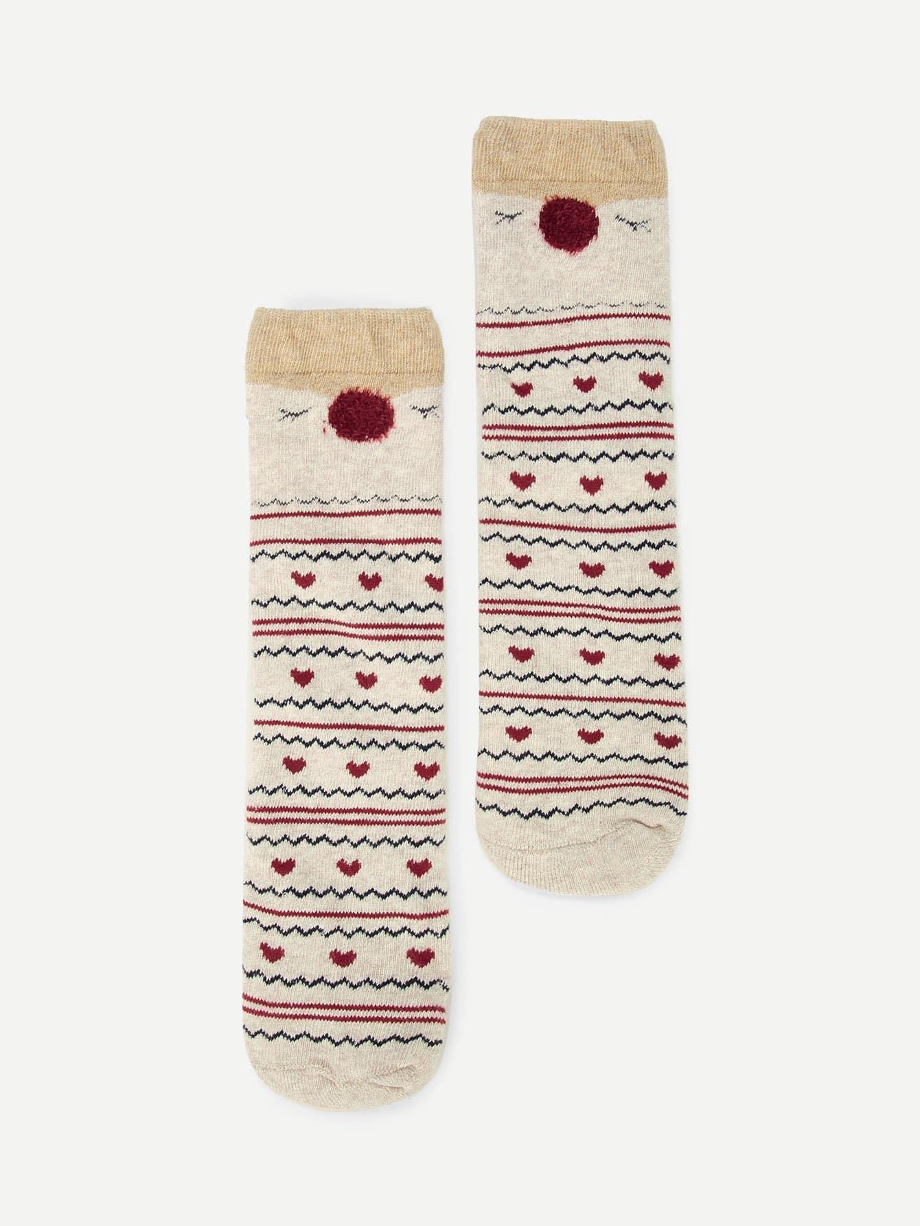 Купить Романтичный стиль Мультяшный принт Многоцветный Детские носки и колготки, null, SheIn