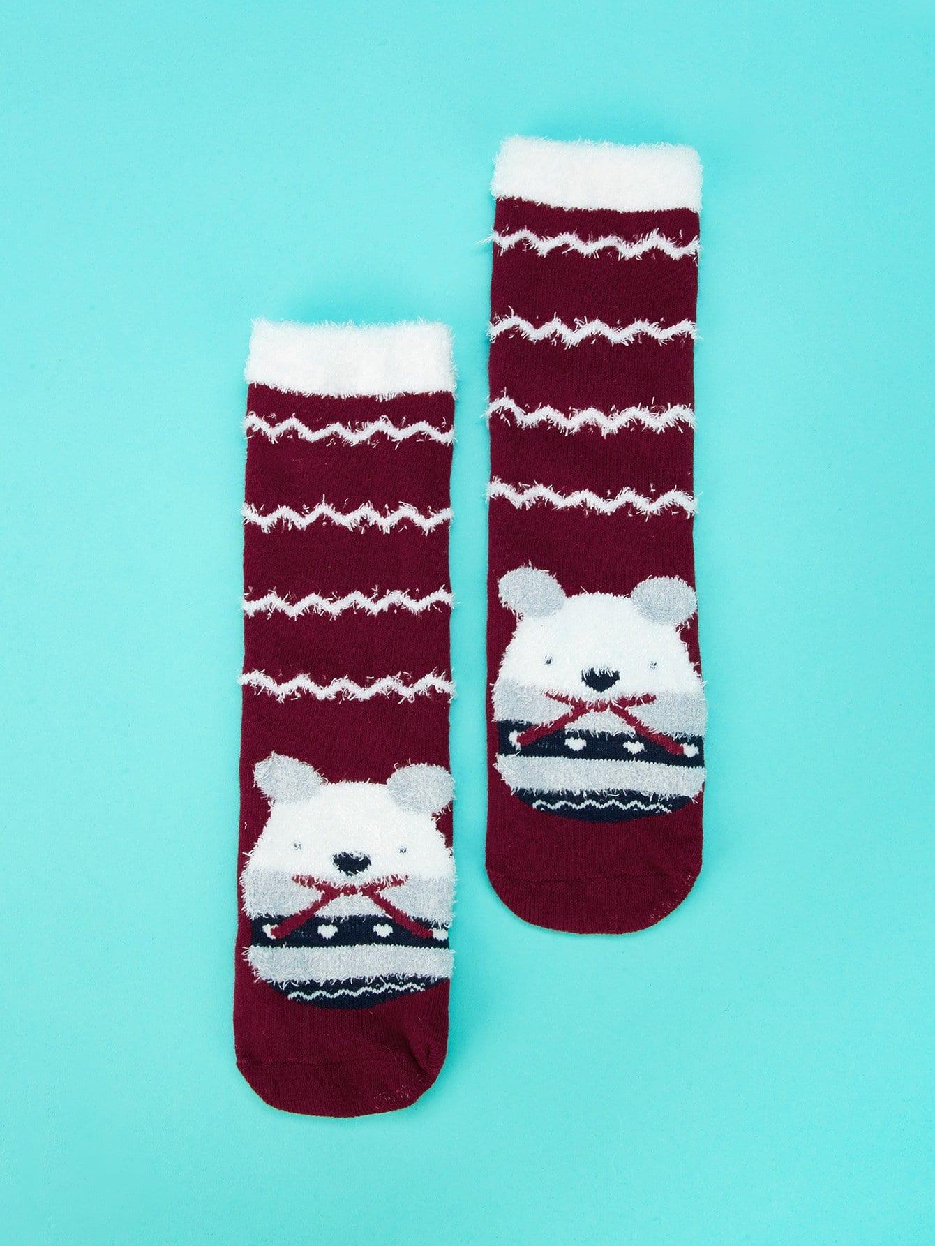Купить Мультяшный принт Бургундия Детские носки и колготки, null, SheIn