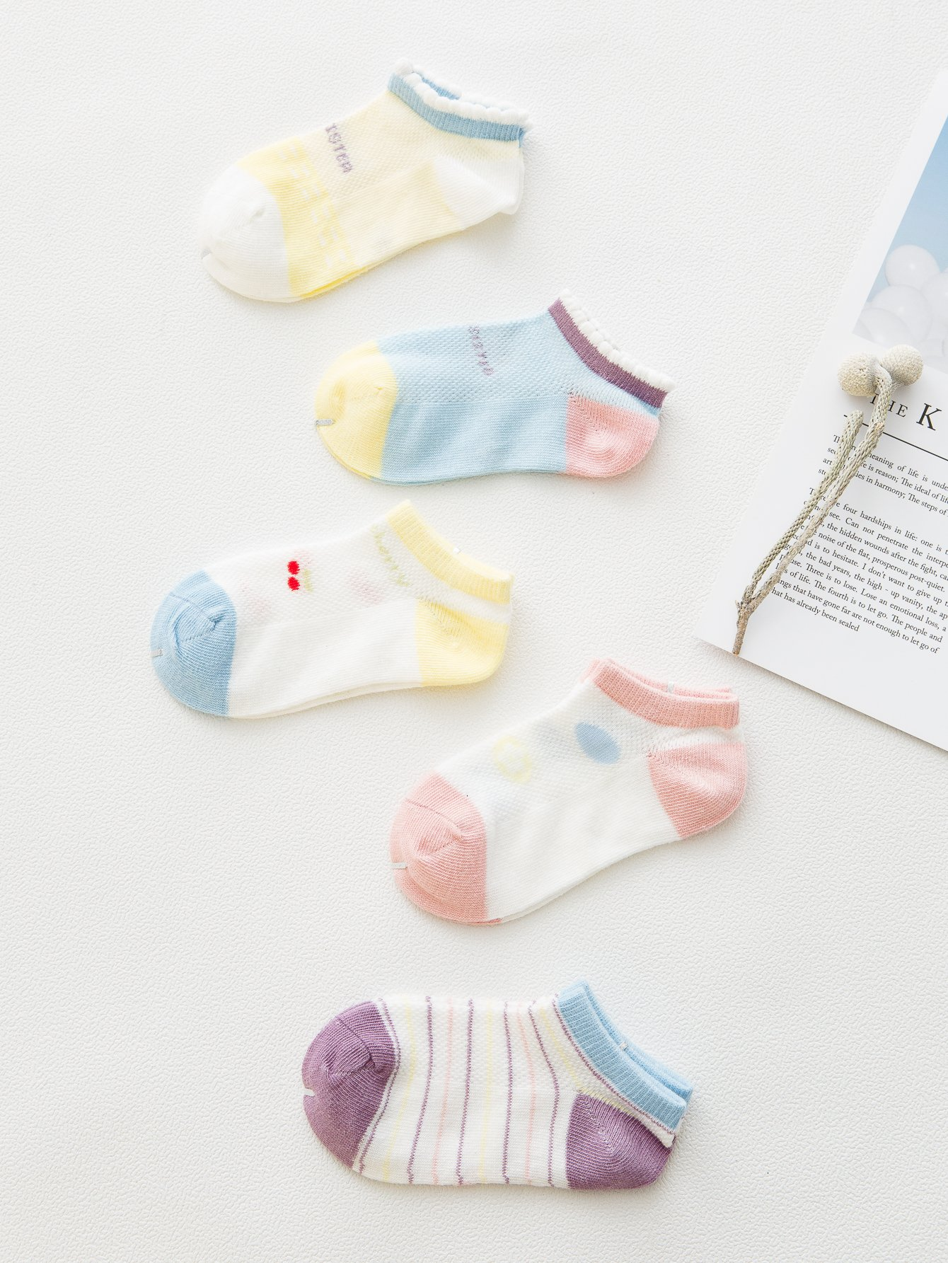 Kids Colorblock Dot Socks 5pairs