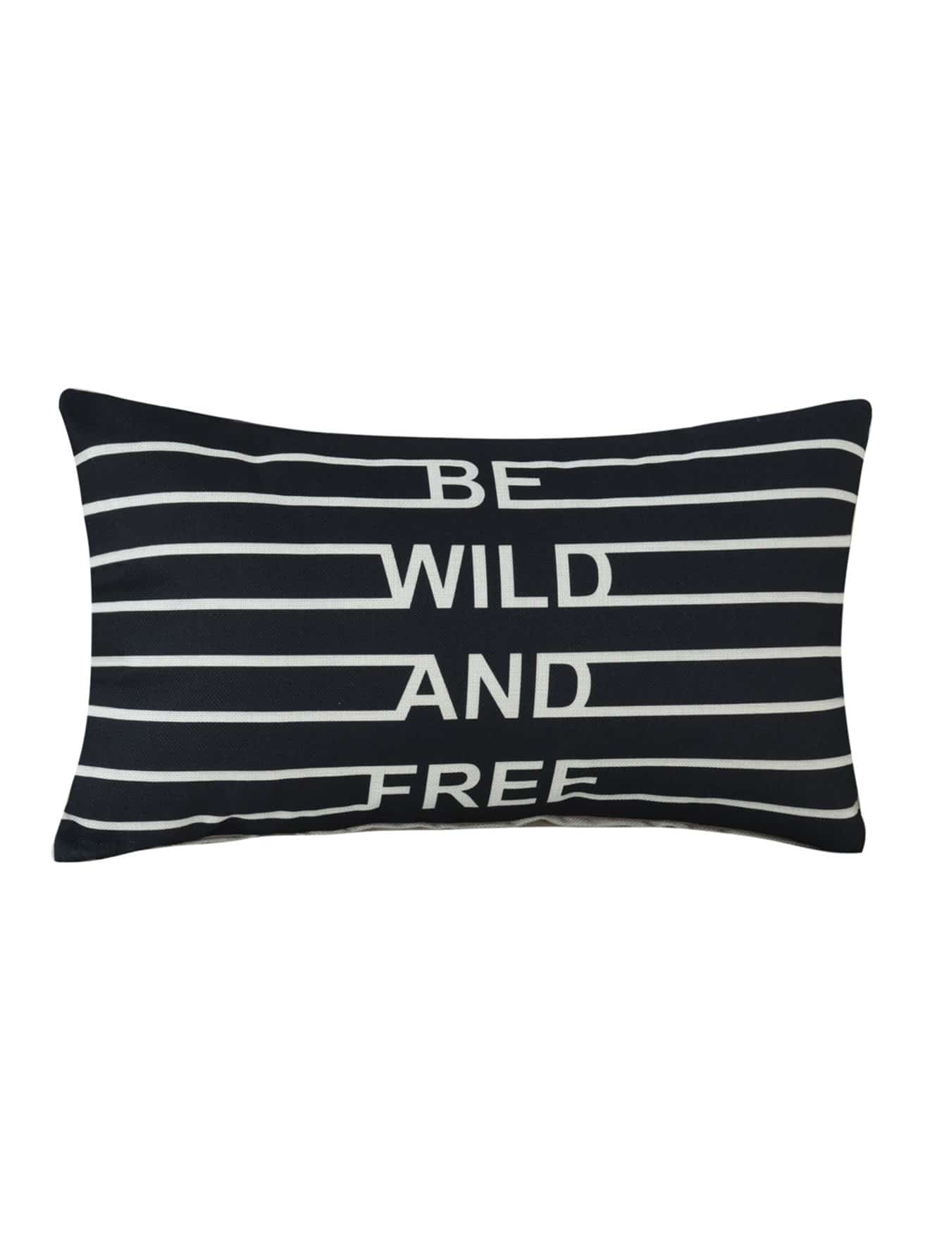 Letter & Striped Print Pillowcase Cover 1PC