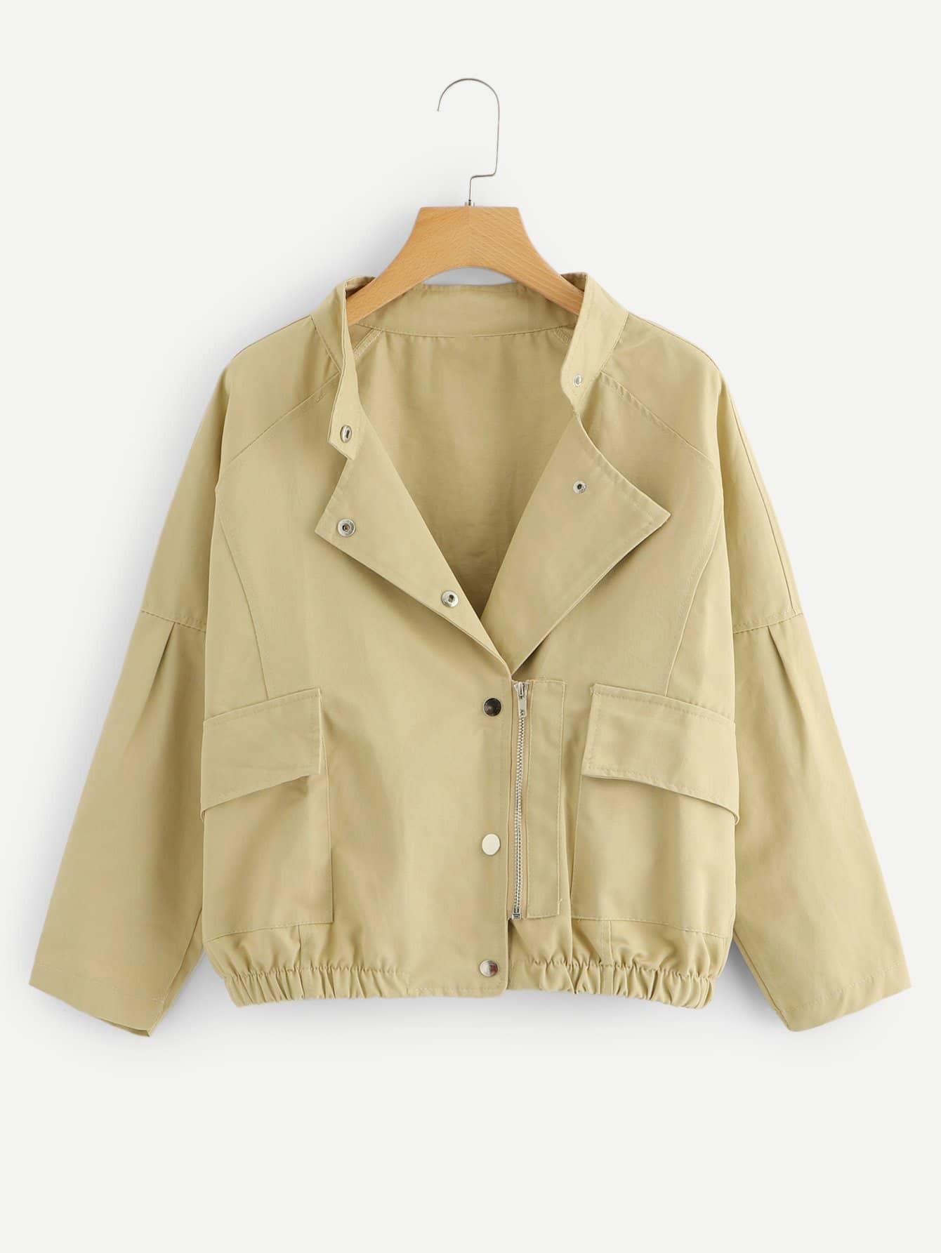 Купить Повседневный Одноцветный на молнии Абрикосовый Жакеты + Куртки, null, SheIn