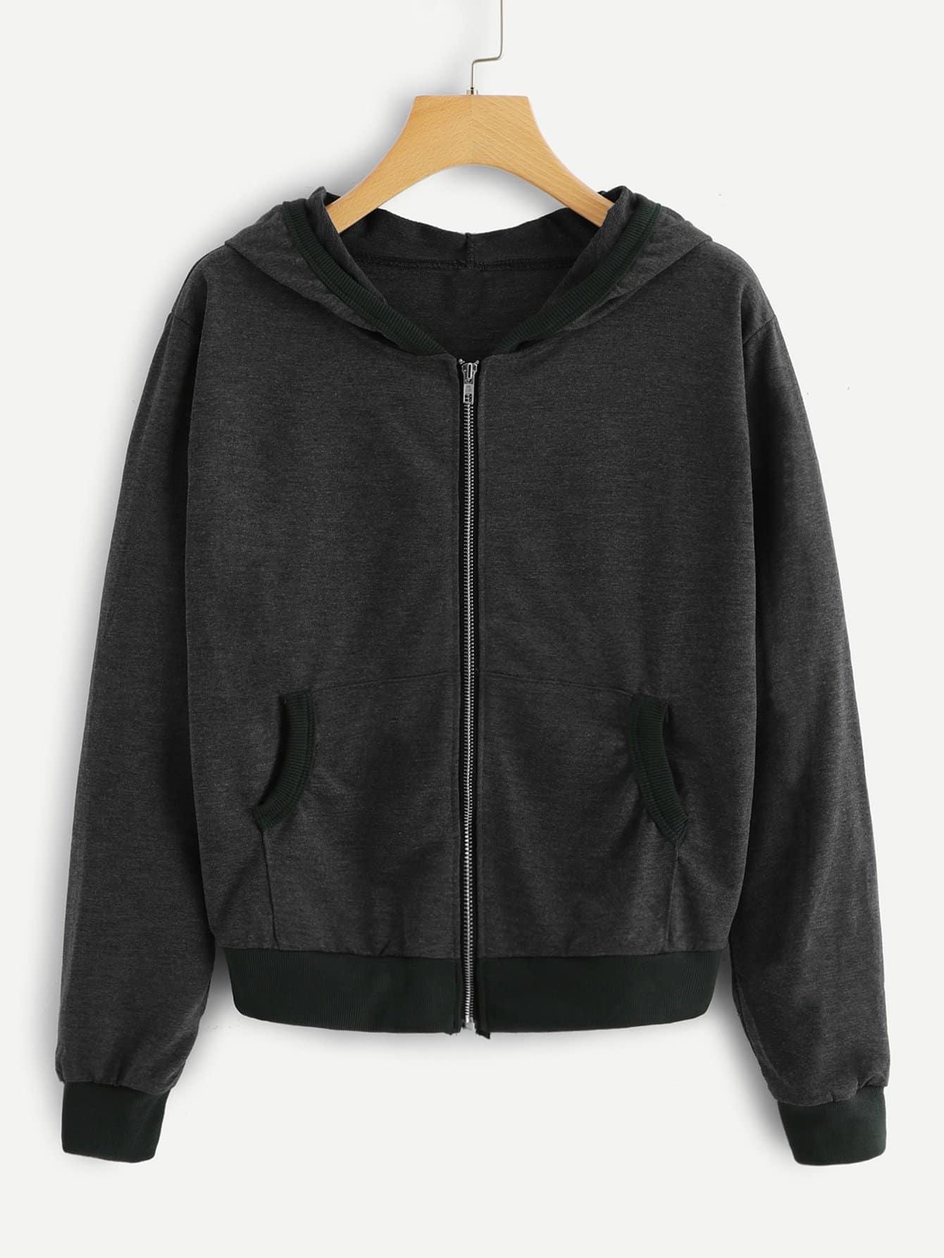 Купить Повседневный Одноцветный на молнии Серый Жакеты + Куртки, null, SheIn