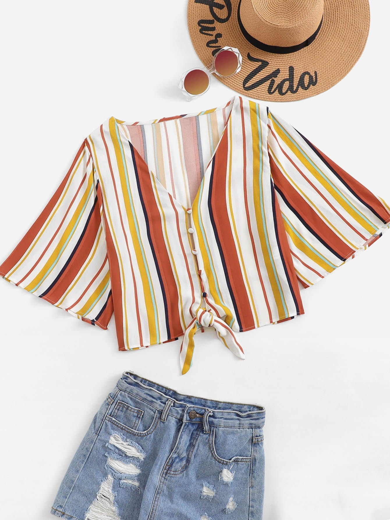 Striped Single Breasted Knot Hem Blouse