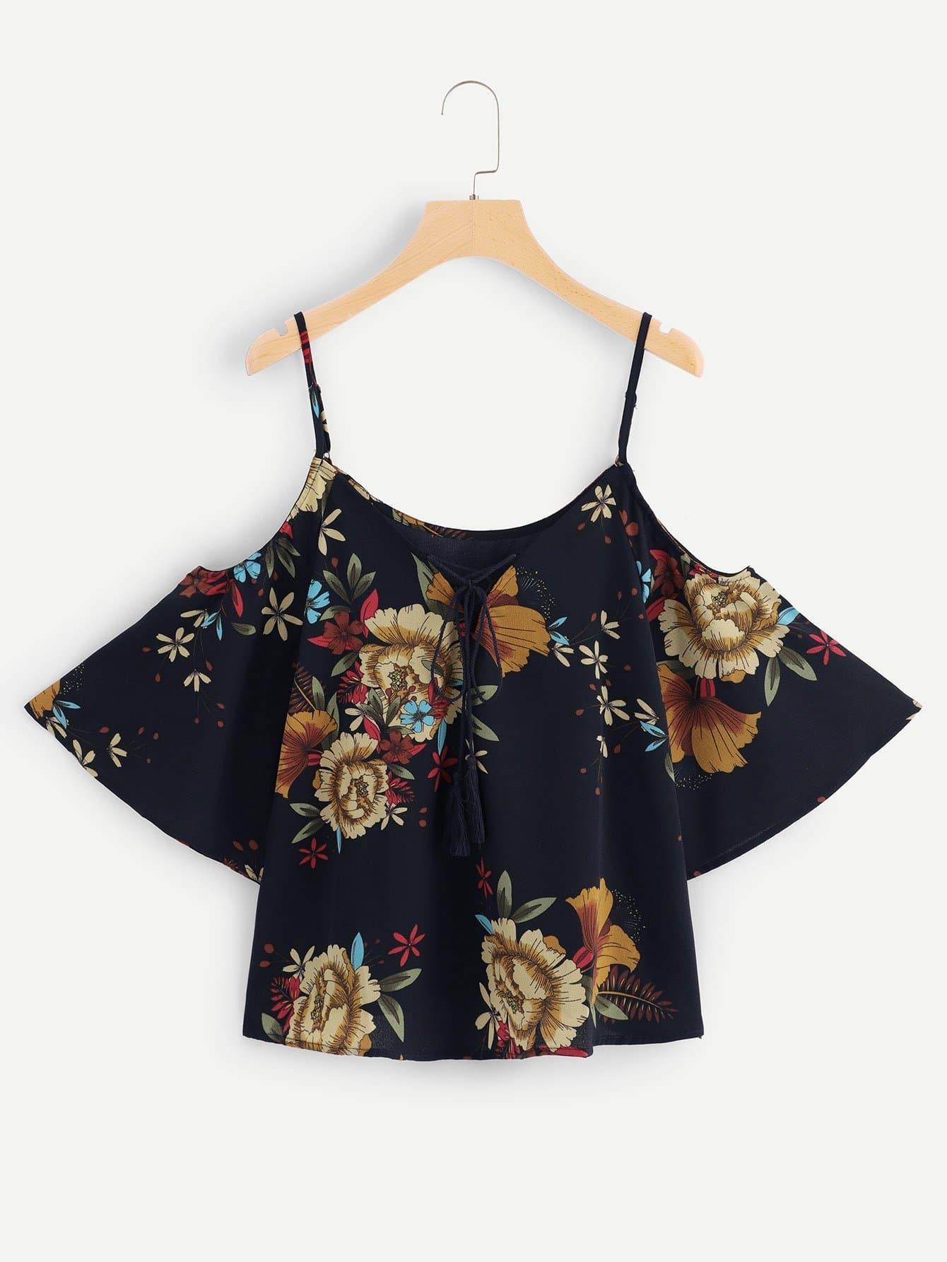 Open Shoulder Floral Print Lace Up Top