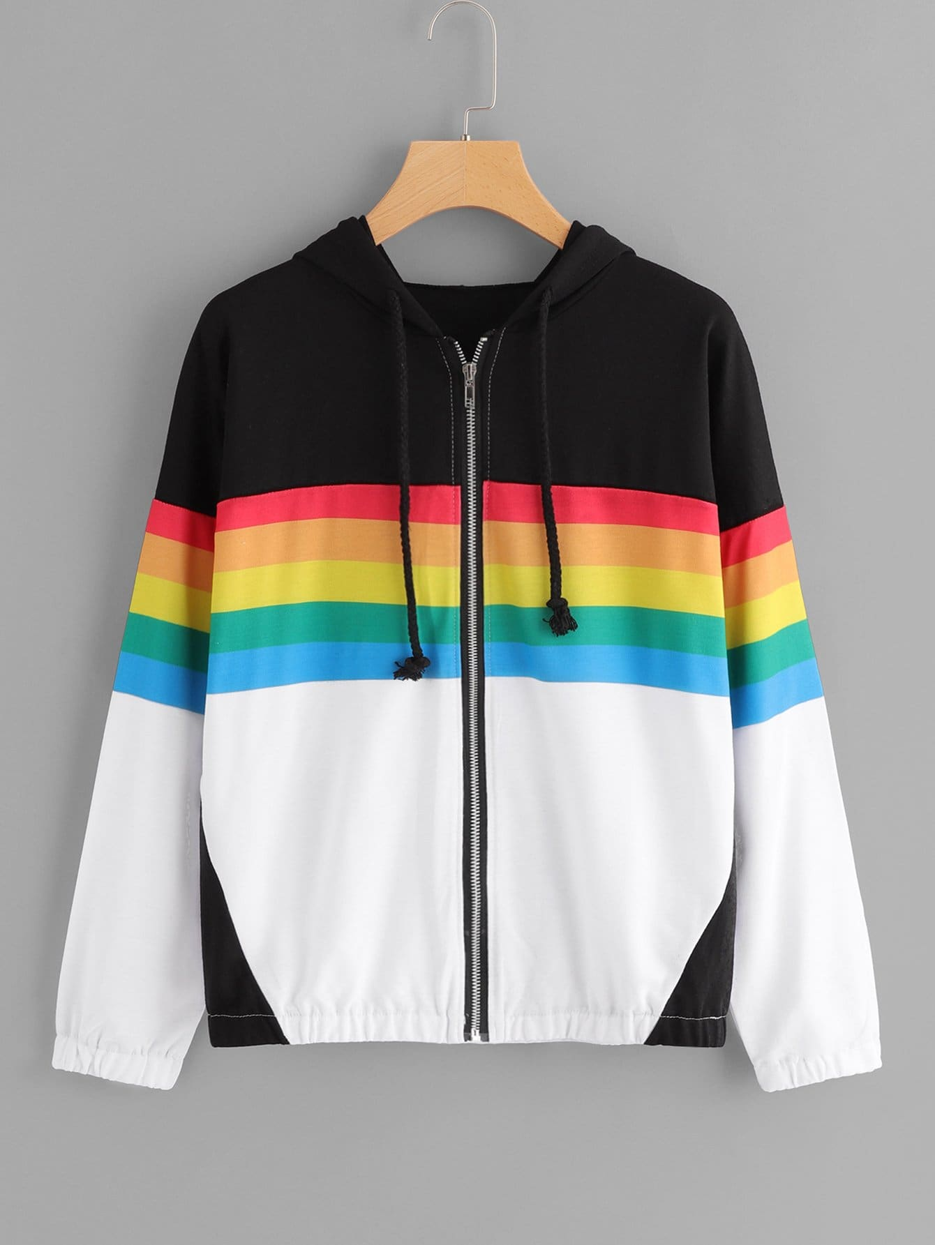 Drawstring Hoodie Zip Front Colorblock Jacket