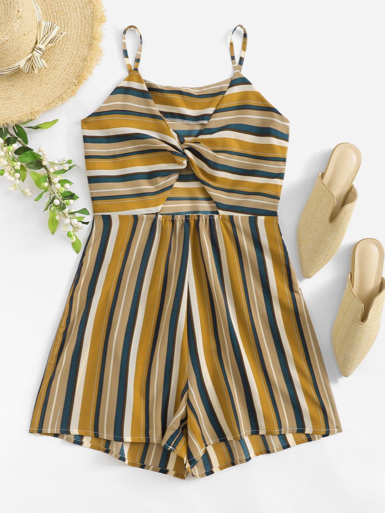 Striped Twist Front Cami Jumpsuit