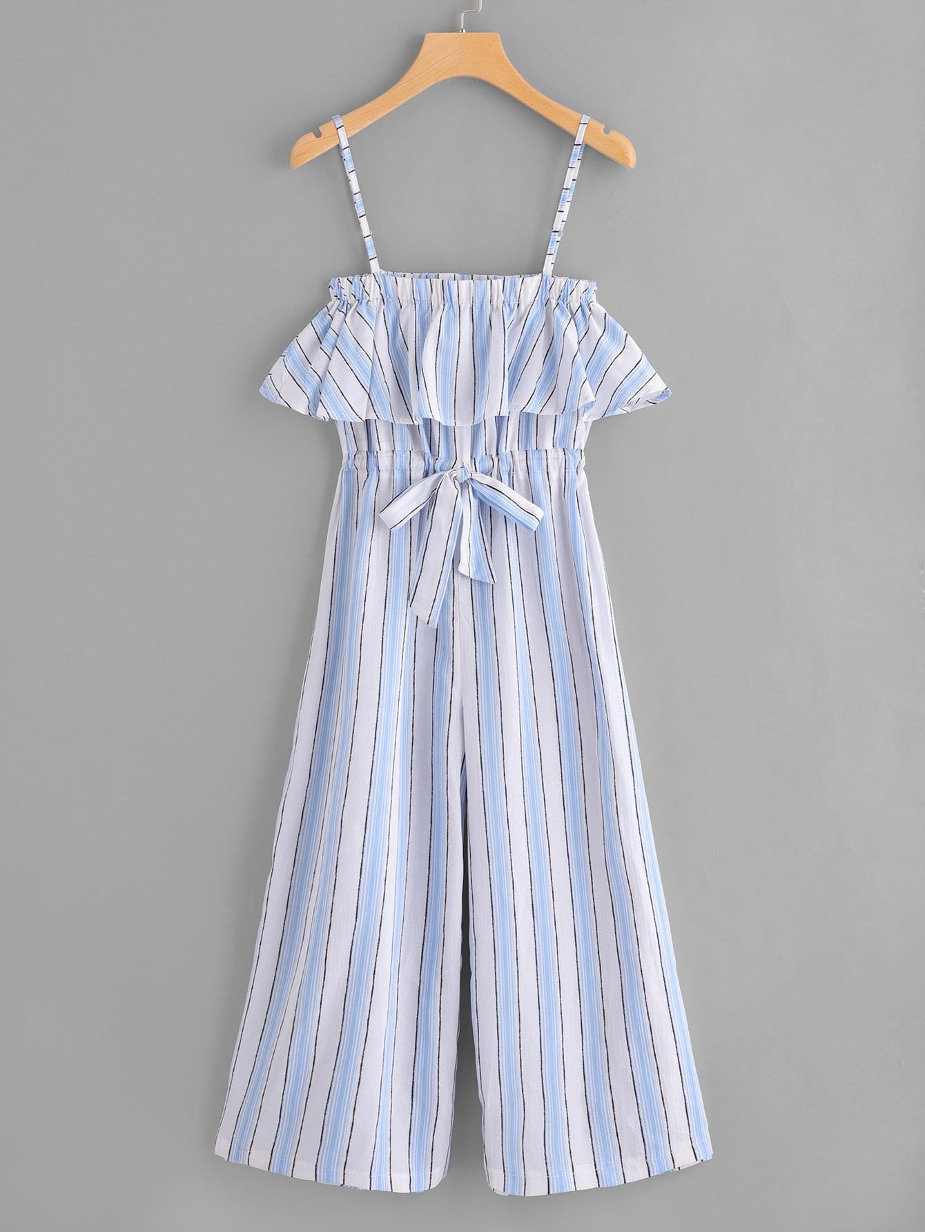 Striped Drawstring Waist Ruffle Trim Cami Jumpsuit
