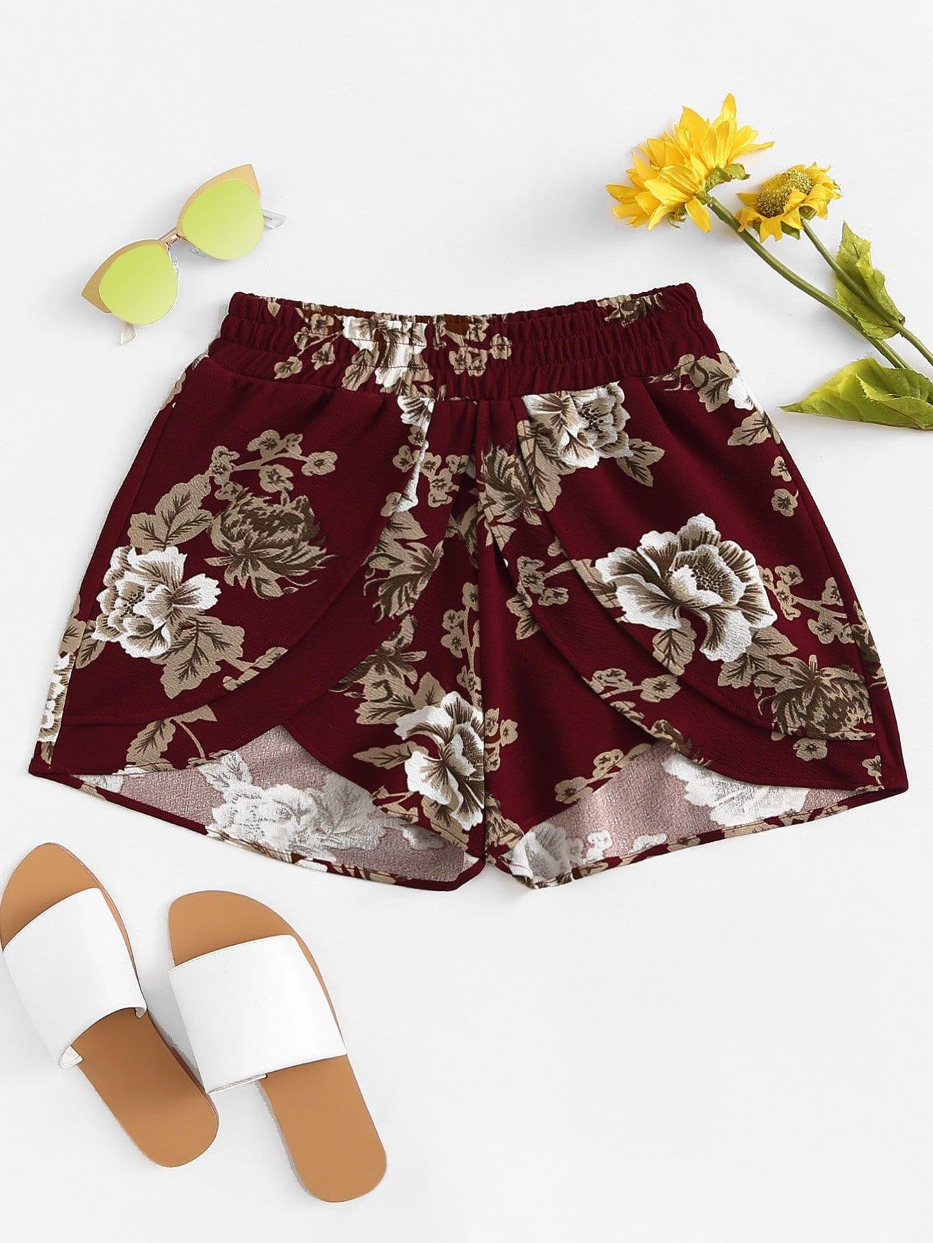 Floral Print Split Shorts