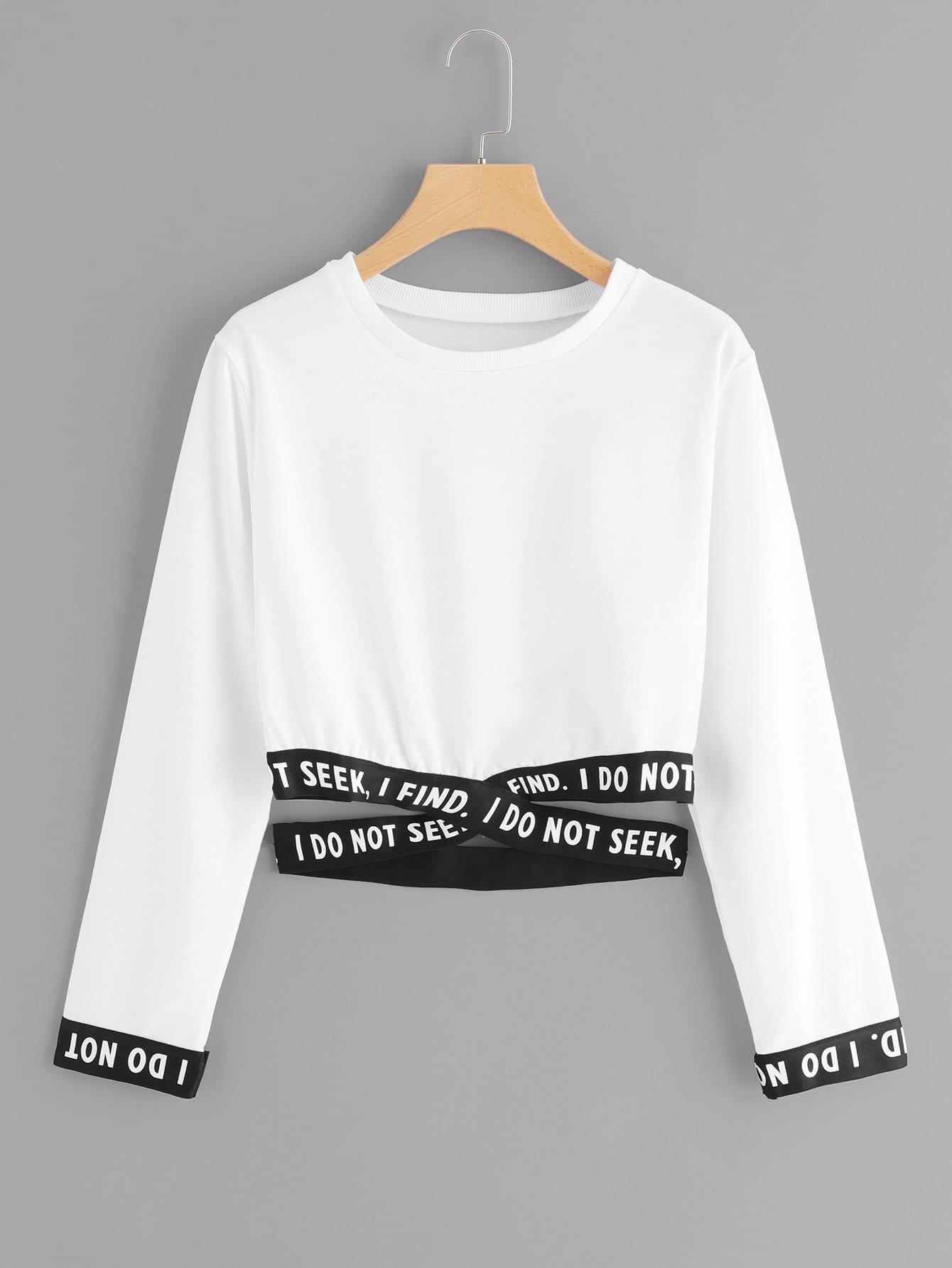 Купить Повседневный Текст крест на крест Пуловеры Белый Свитшоты, null, SheIn