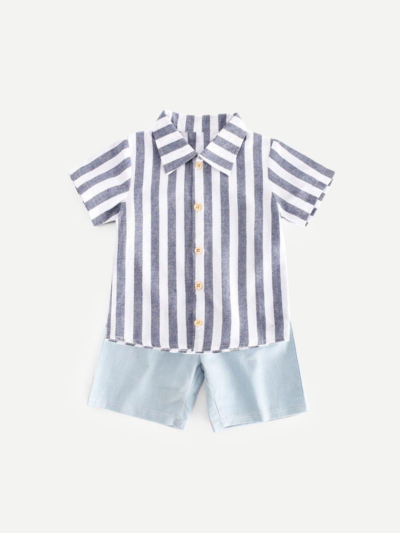 Купить Детская полосатая блузка с джинсовыми шортами, null, SheIn