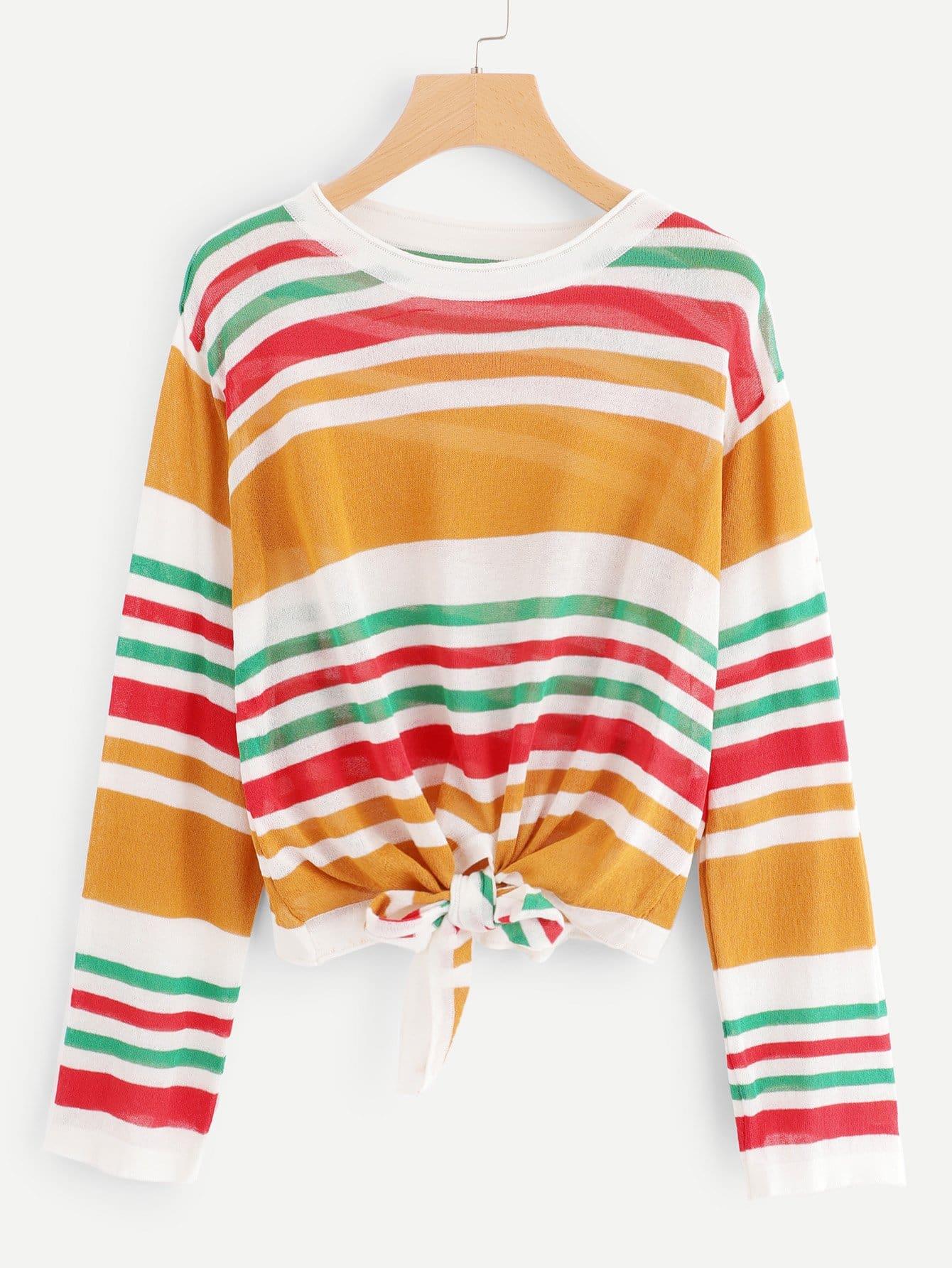 Pullover mit sehr tief angesetzter Schulterpartie, Knoten und Streifen