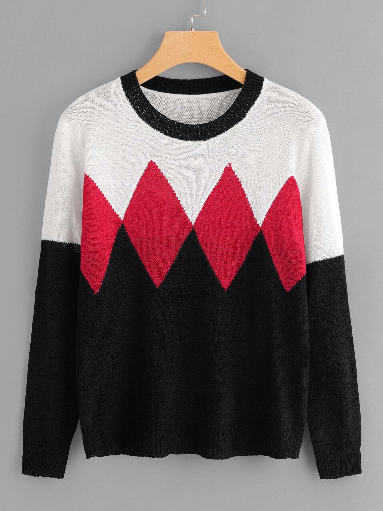 Color Block Geo Knit Jumper