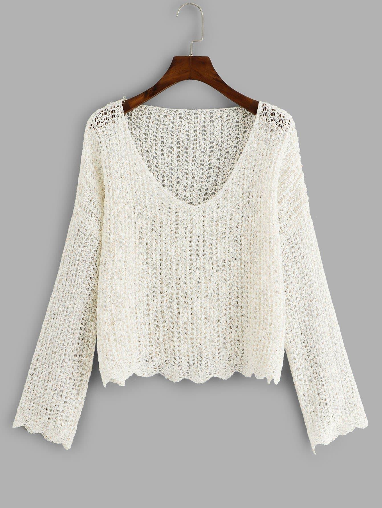 Купить Повседневный Ровный цвет с разрезом Пуловеры Серебрый Свитшоты, null, SheIn