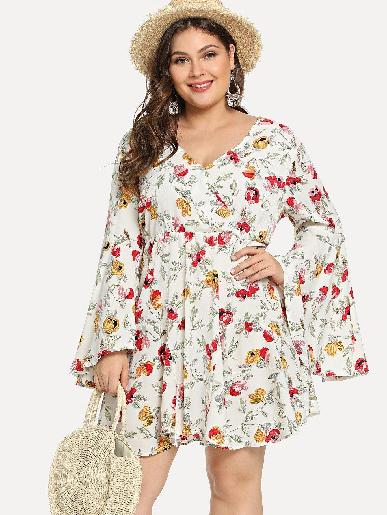 Plus Surplice Front Floral Print Dress