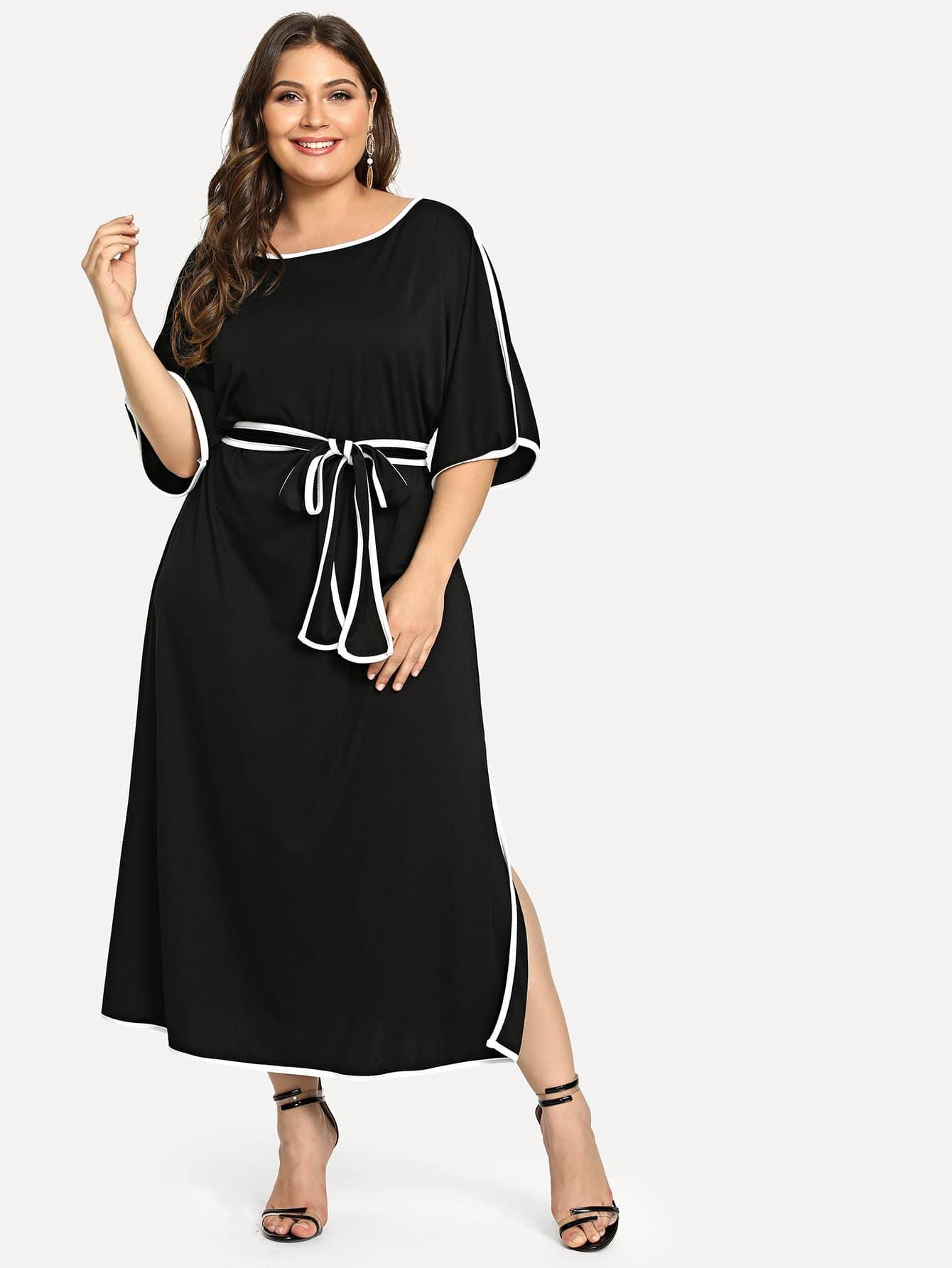 Купить Повседневные с поясом Чёрные Платья большого размера, Carol, SheIn
